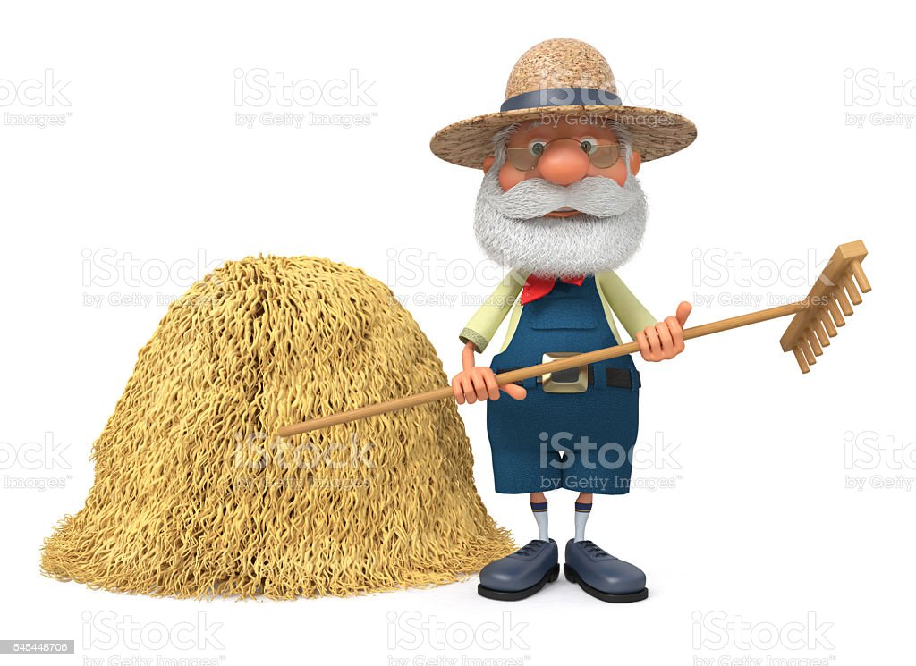 3D illustration the elderly farmer costs outdoors with a smile stock photo