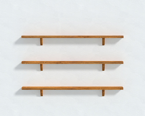 3D illustration - The white wall and three wooden shelves