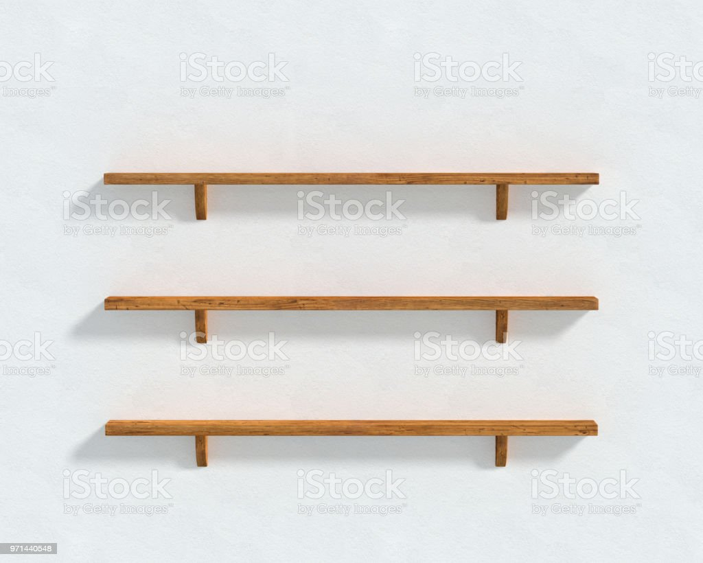 3D illustration - The white wall and three wooden shelves stock photo