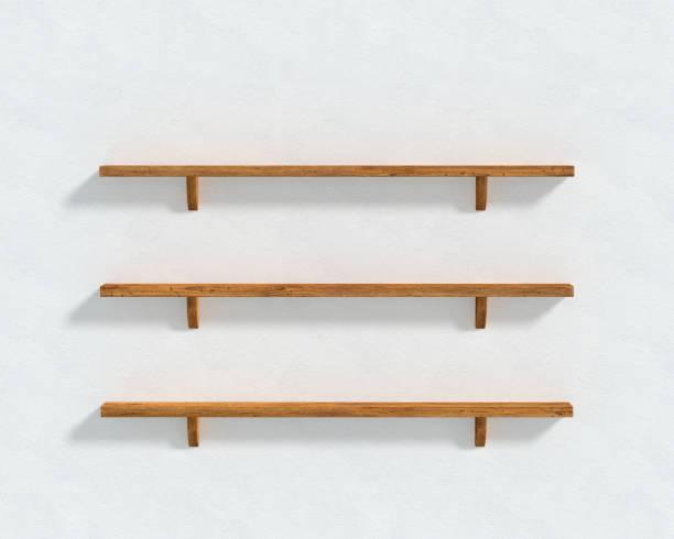 3D illustration - le mur blanc et trois étagères en bois - Photo