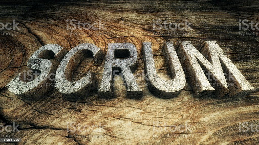 3D Illustration: The word 'SCRUM' is lined with metallic letters stock photo
