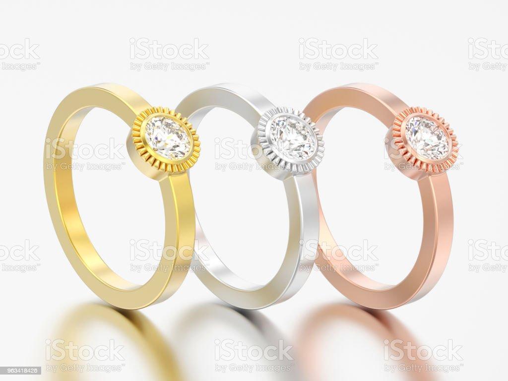 Solitaire de différents mariage or illustration 3D trois ronds anneaux de lunette diamant - Photo de Accessoire libre de droits