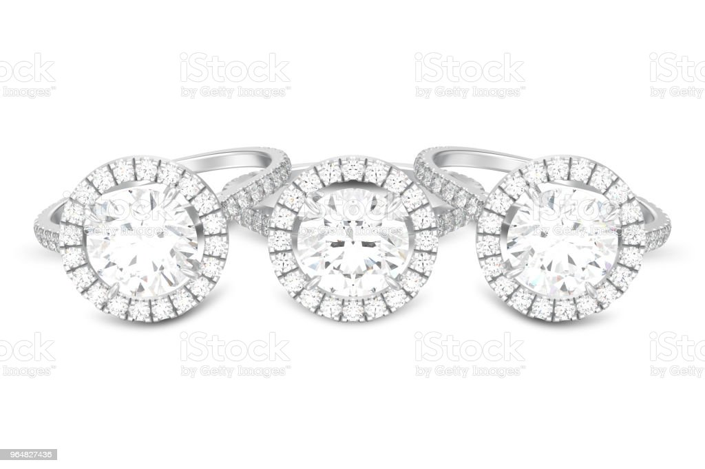 3D illustration three isolated silver engagement wedding round diamond rings with shadow royalty-free stock photo