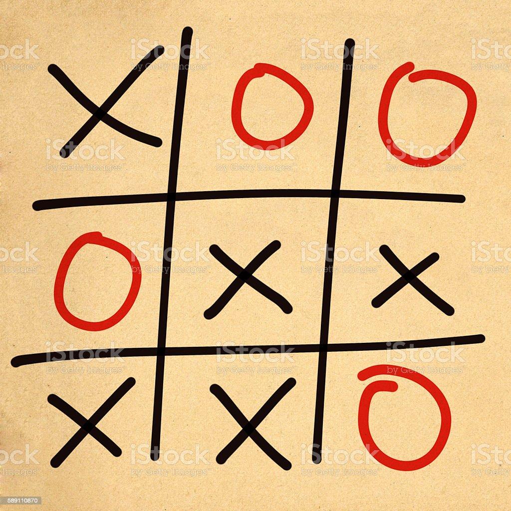 illustration tic tac toe XO game stock photo