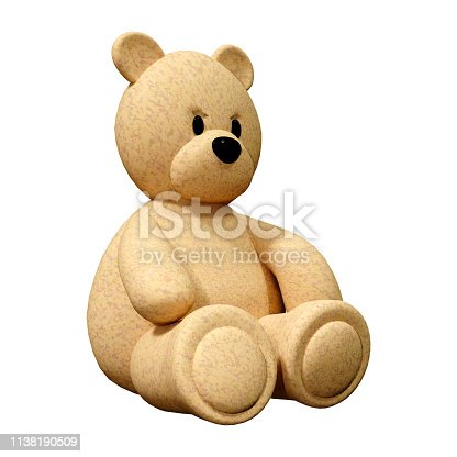 3D rendering of a toy bear isolated on white background