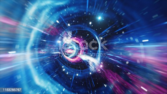 664390112 istock photo 3D illustration tunnel or wormhole, tunnel that can connect one universe with another. Abstract speed tunnel warp in space, wormhole or black hole, scene of overcoming the temporary space in cosmos. 1153285767