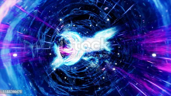istock 3D illustration tunnel or wormhole, tunnel that can connect one universe with another. Abstract speed tunnel warp in space, wormhole or black hole, scene of overcoming the temporary space in cosmos. 1153286475