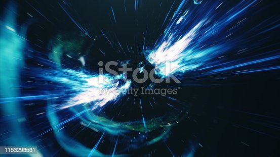 istock 3D illustration tunnel or wormhole, tunnel that can connect one universe with another. Abstract speed tunnel warp in space, wormhole or black hole, scene of overcoming the temporary space in cosmos. 1153293531
