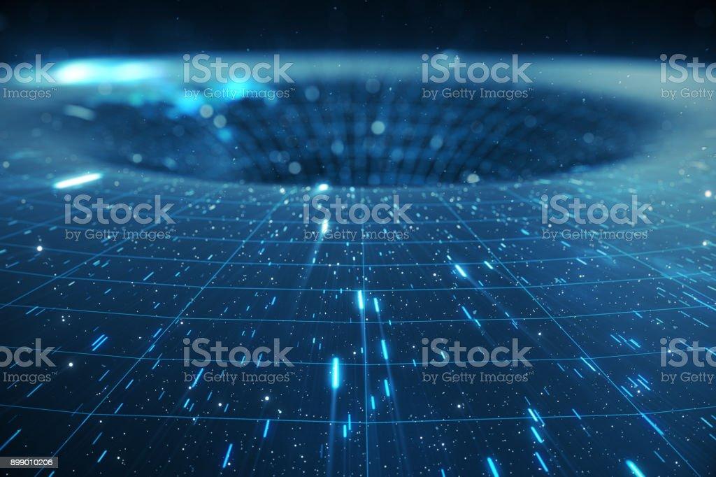3 D イラストレーション トンネルやワームホール、別の一つの宇宙を接続することができますトンネル。抽象的な速度トンネル ワープ スペース、ワームホールやブラック ホール、コスモスに一時的な領域を克服するシーンで ストックフォト