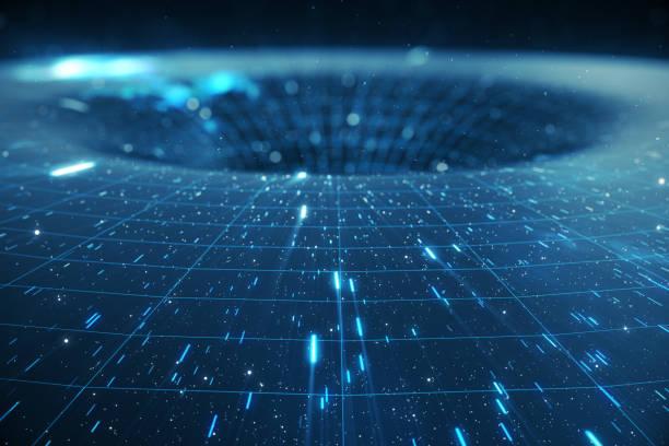 ilustración 3d de túnel o agujero de gusano, túnel que puede conectar un universo con otra. deformación de túnel de velocidad abstracta en el espacio, wormhole o agujero negro, escena de superar el espacio temporal en el cosmos - e=mc2 fotografías e imágenes de stock