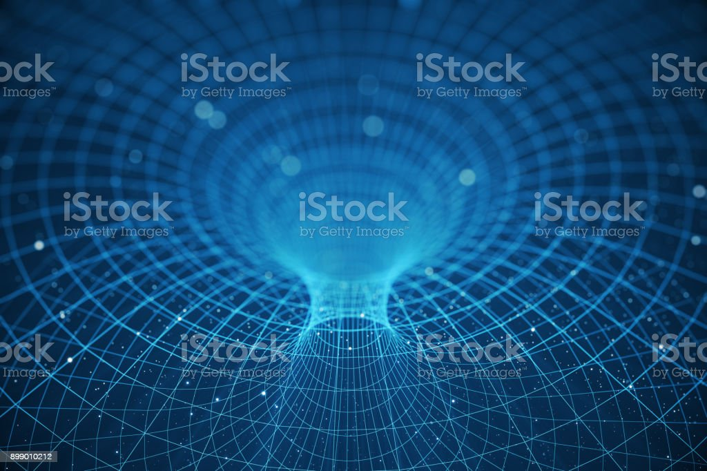 3D illustration tunnel or wormhole, tunnel that can connect one universe with another. Abstract speed tunnel warp in space, wormhole or black hole, scene of overcoming the temporary space in cosmos stock photo