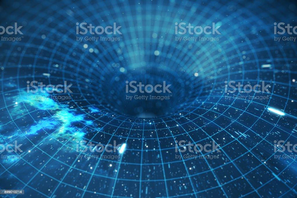 3D-Illustration Tunnel oder Wurmloch, Tunnel, die ein Universum mit einem anderen verbinden können. Abstrakte Geschwindigkeit Tunnel Verwerfung im Raum, Wurmloch oder schwarzes Loch, Szene den temporären Speicherplatz im Kosmos zu überwinden – Foto