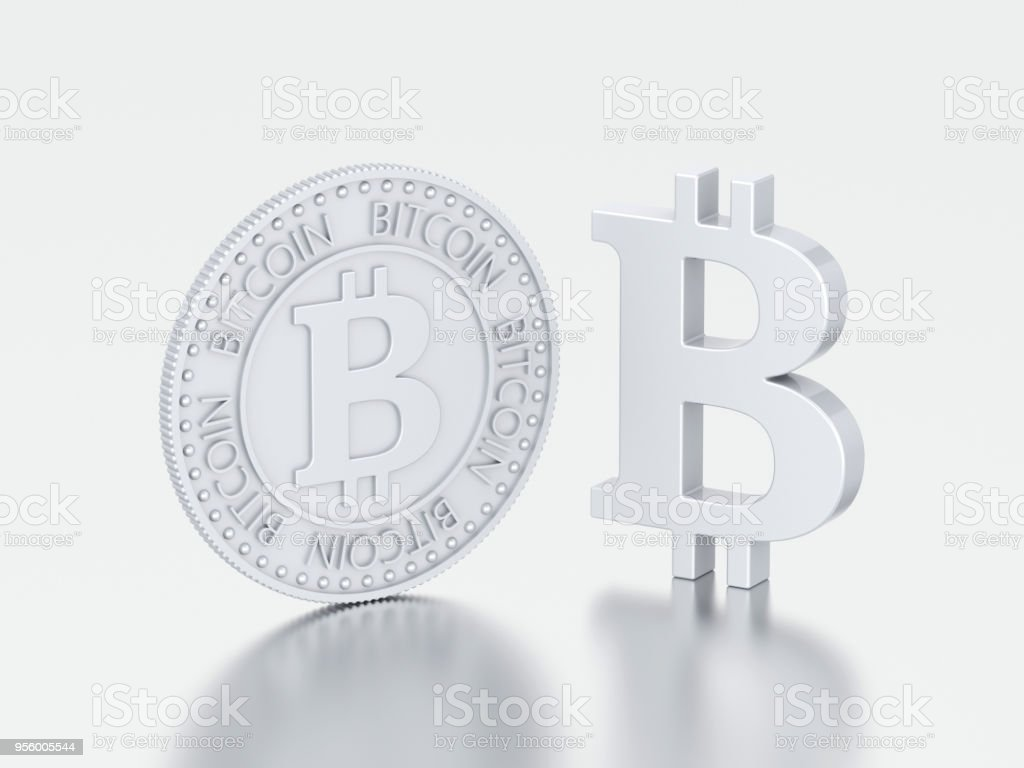 3D illustration two different silver bitcoin stock photo