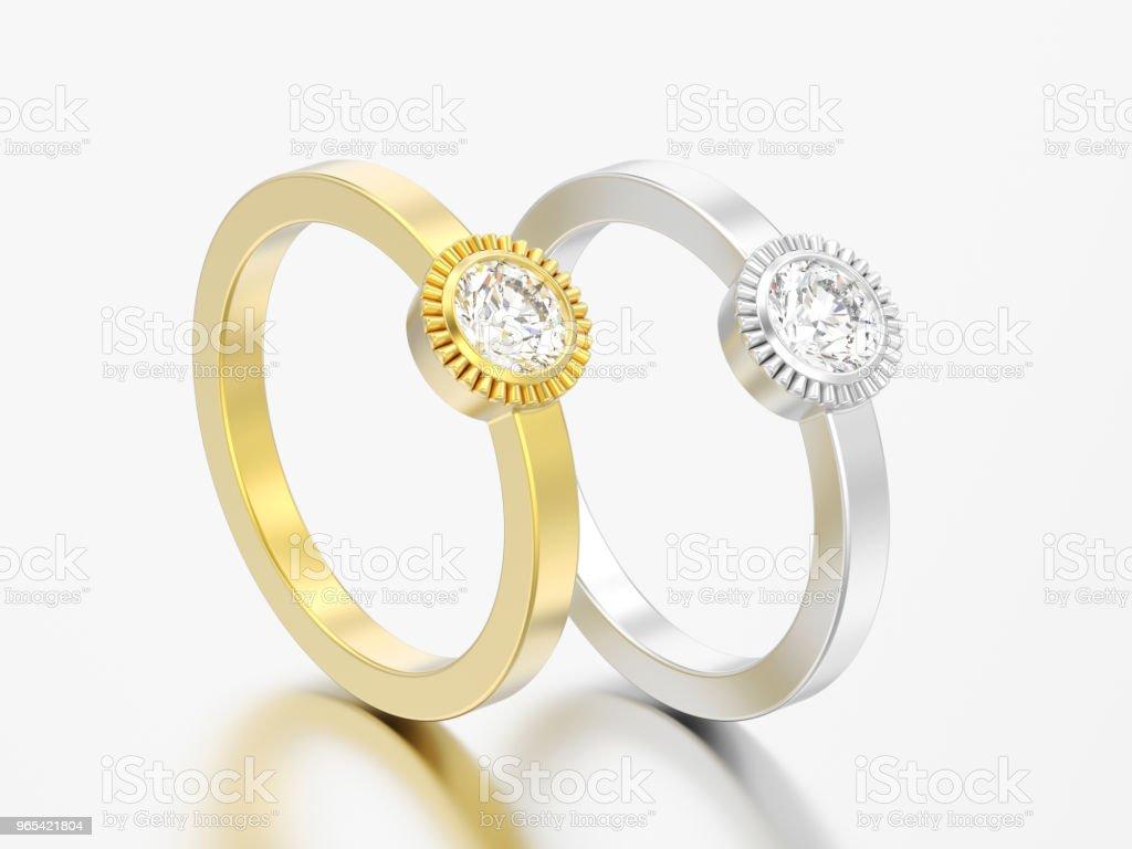 3D 插圖二金和銀色婚禮紙牌圓形菱形擋板環 - 免版稅個人飾物圖庫照片