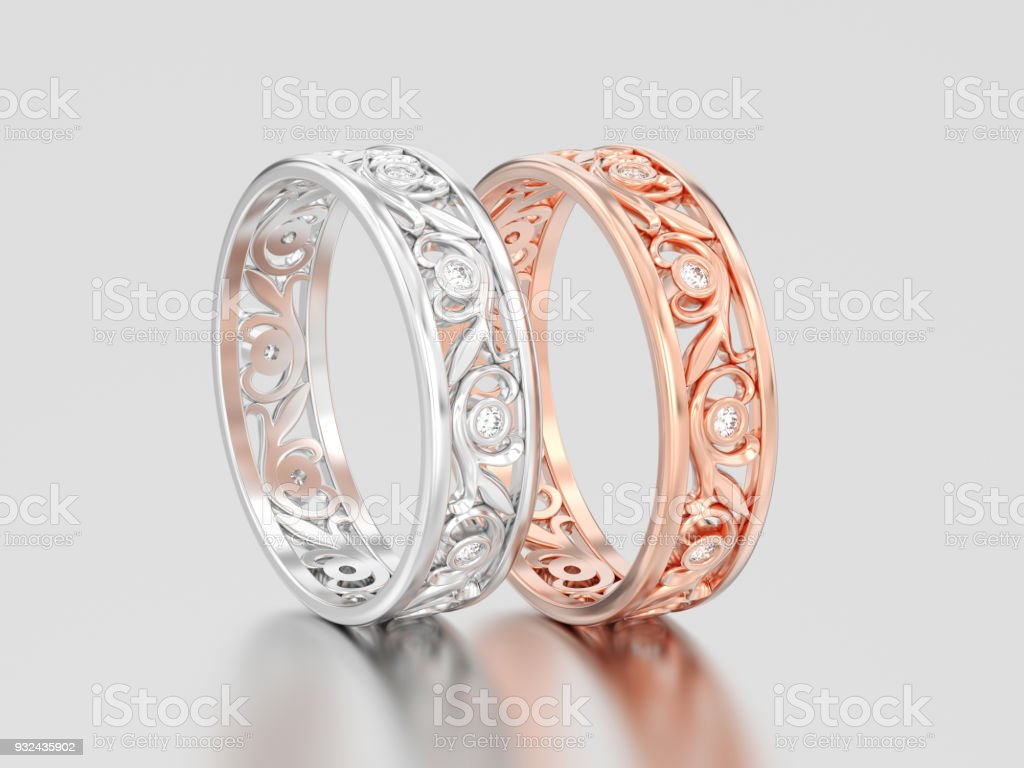 3D illustration two rose and white gold or silver matching couples wedding diamond rings bands stock photo