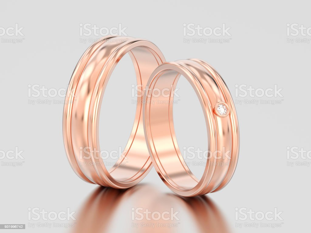 3D illustration two rose gold matching couples wedding diamond rings bands stock photo