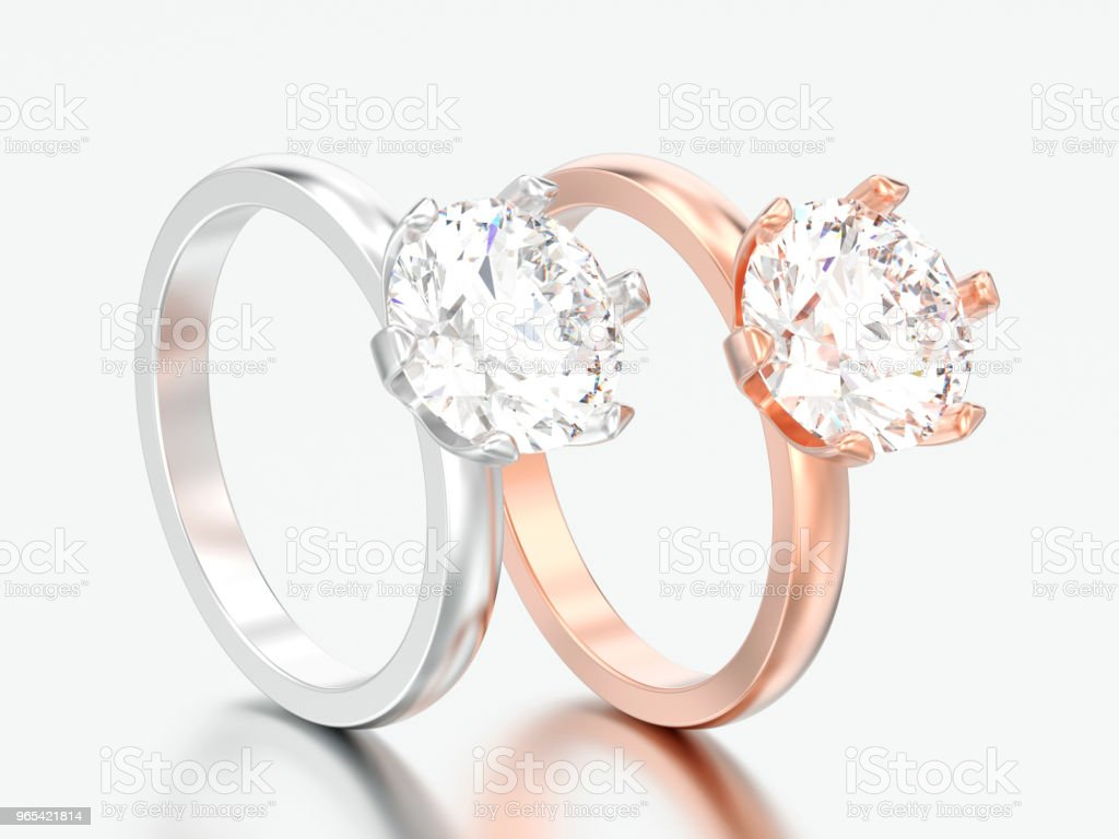 3D illustration two silver and rose gold traditional solitaire engagement diamond rings royalty-free stock photo