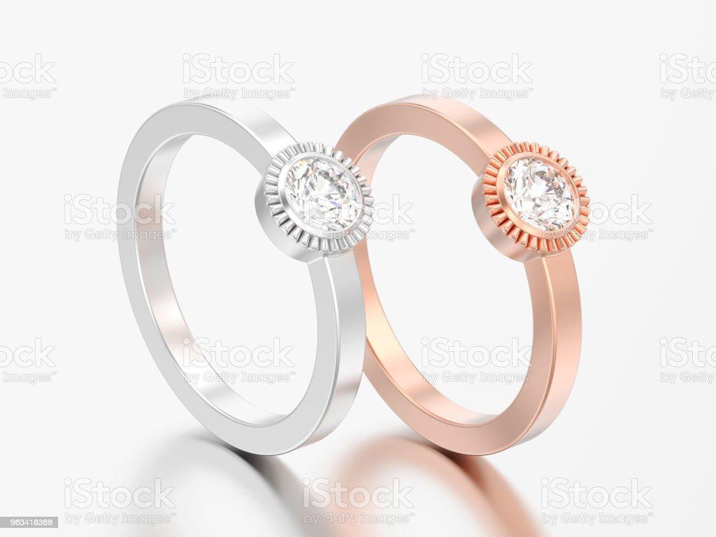 3D illustration deux d'argent et solitaire de mariage or rose ronde anneaux de lunette diamant - Photo de Accessoire libre de droits