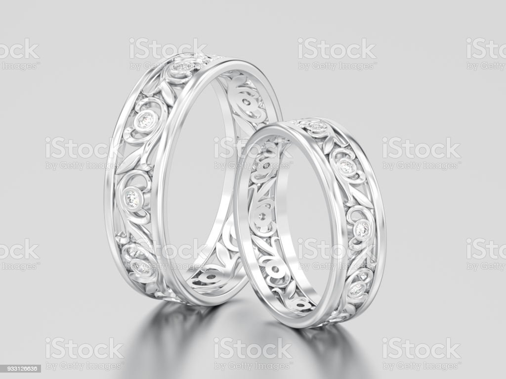 3D illustration two white gold or silver matching couples wedding diamond rings bands stock photo