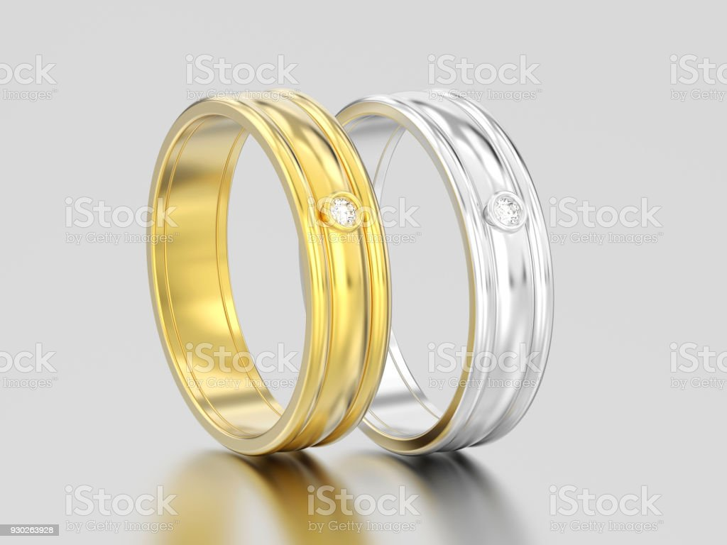 3D illustration two yellow and white gold or silver matching couples wedding diamond rings bands stock photo