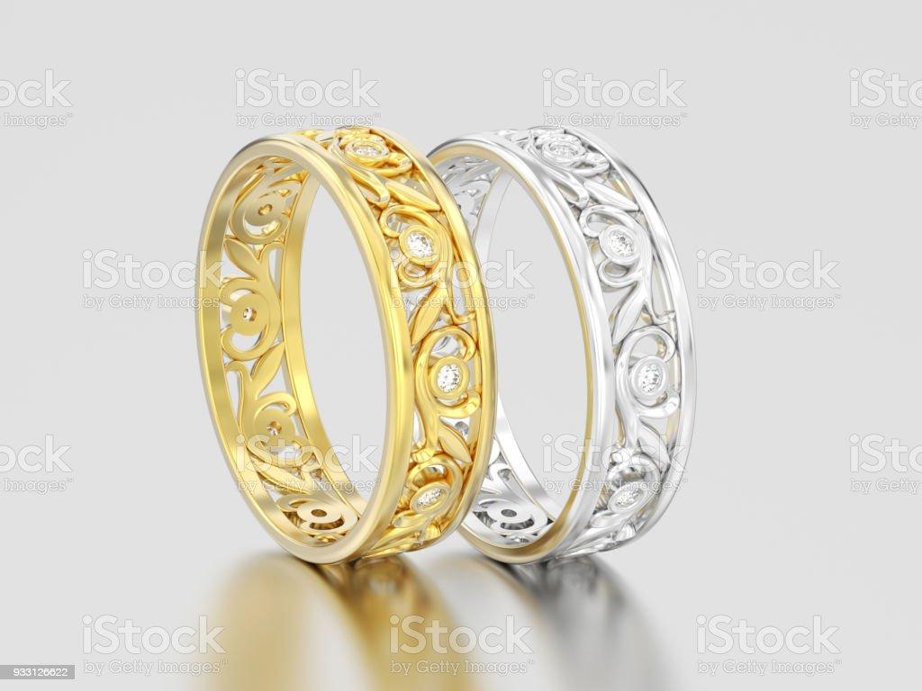 3d Abbildung Zwei Gelbe Und Weiße Gold Oder Silber Passende