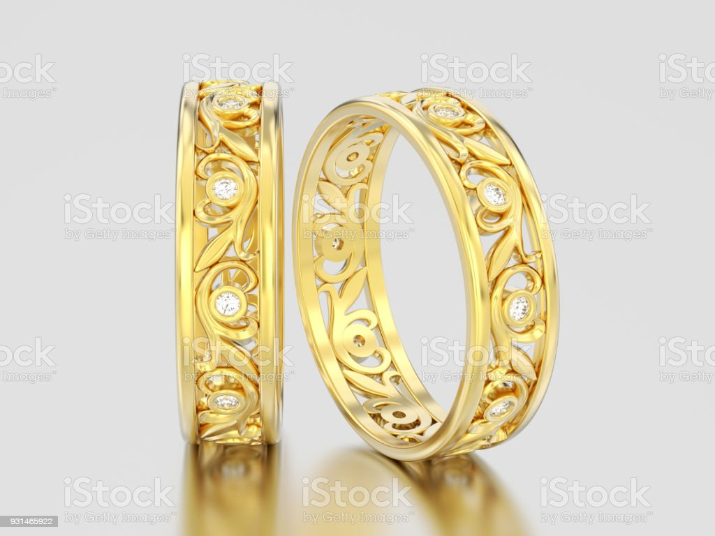 3D illustration two yellow gold decorative wedding bands carved out diamond rings with ornament stock photo