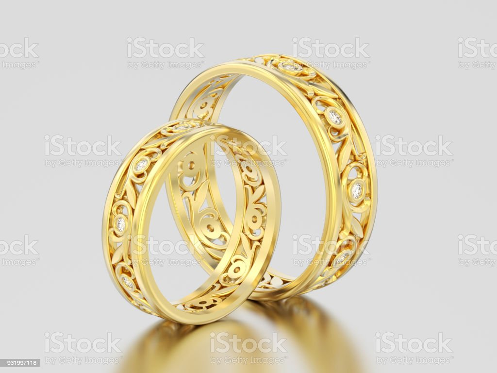 3D illustration two yellow gold matching couples wedding diamond rings bands stock photo