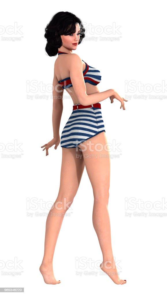 3D 插圖復古海報女孩白色 - 免版稅1940圖庫照片