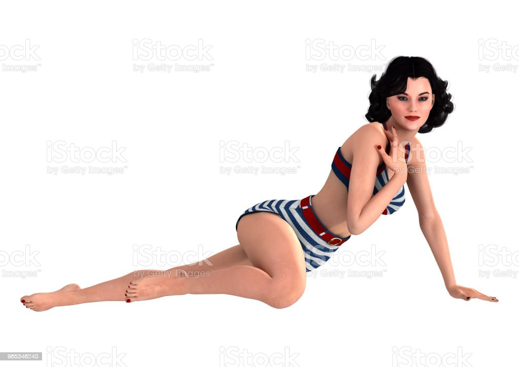 3D illustration vintage pinup girl on white royalty-free stock photo