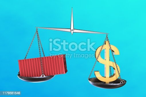 928696036 istock photo 3D illustration: vintage scales in disbalance with the red cargo container on one side and a sign of us dollar on the other. On blue azure background. Economic balance. Trade war. 1179581546