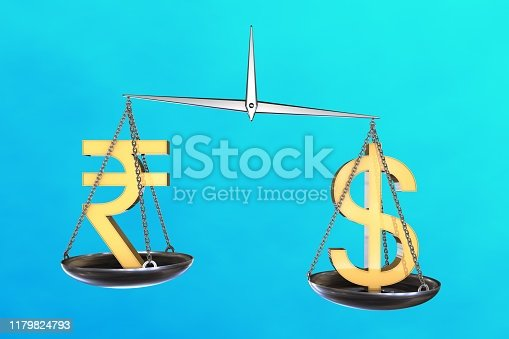 istock 3D illustration: vintage scales in disbalance with the yellow sign of Indian rupee on one side and the us dollar on the other. Exchange rate. Comparison of two currencies. 1179824793