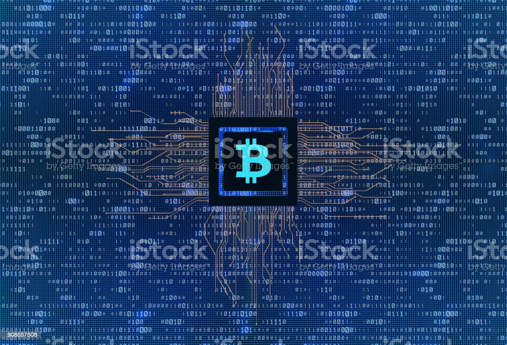 3D illustration, virtual transaction currency, bitcoin, internet finance, internet economy, circuit board stock photo