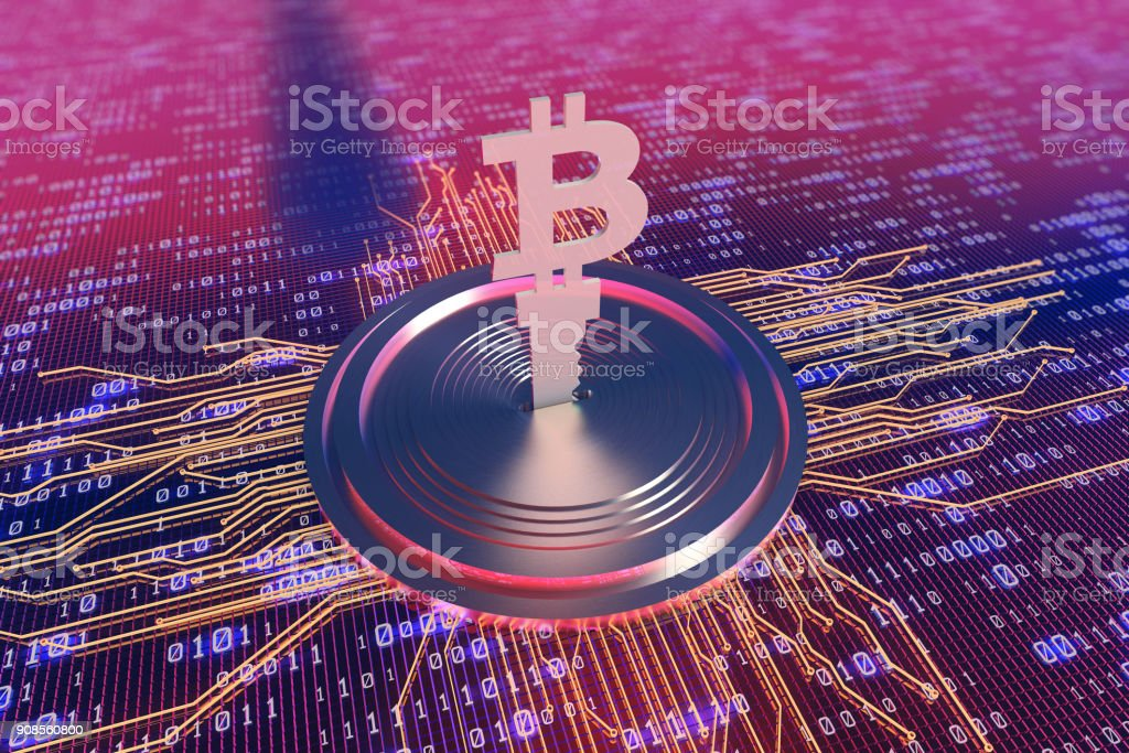 3D illustration, virtual transaction currency, bitcoin, internet finance, cyber economy, circuit board and key stock photo