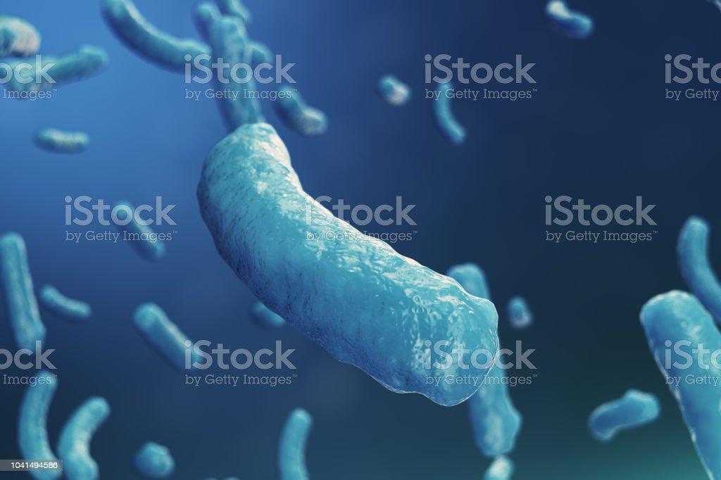3D çizim virüs backgorund. Virüs grip, Hepatit, AIDS, E. coli, iki nokta üst üste bacillus. Bilim ve tıp, bağışıklık azaltılması kavramı. Hücre enfekte organizma stok fotoğrafı