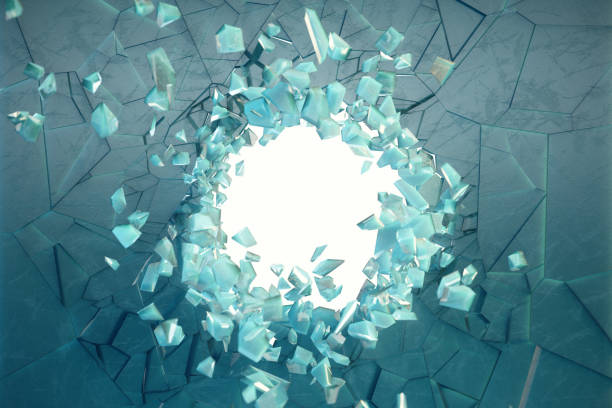3D illustration wall of ice with a hole in the center of shatters into small pieces. Place for your banner, advertisement. The explosion caused a crack in the wall. Explosion hole in ice cracked wall. stock photo
