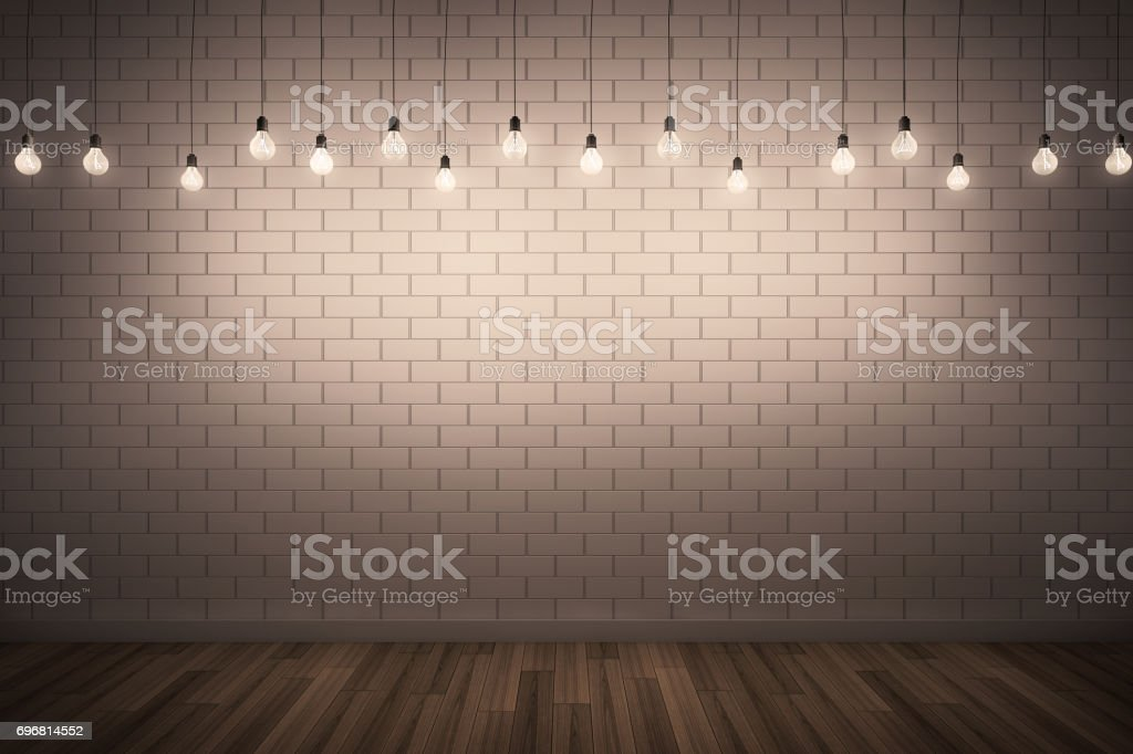 3D illustration : White brick wall & Wooden floor with lighting. stock photo
