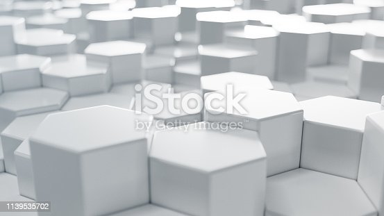 626187518istockphoto 3D illustration white geometric hexagon abstract background. Surface hexagon pattern, hexagonal honeycomb. 1139535702