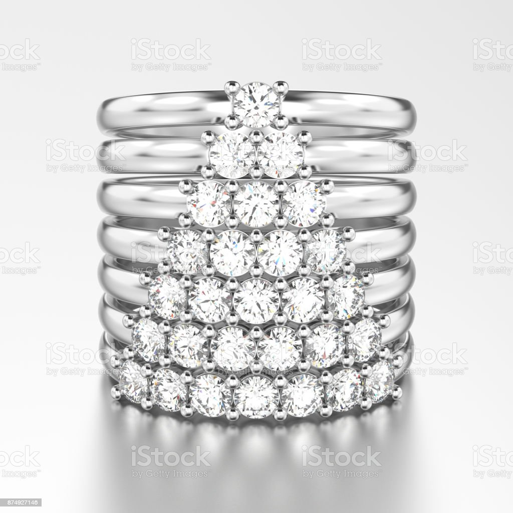 3D illustration white gold or silver decorative diamond rings with diamonds in the form of a сhristmas tree stock photo