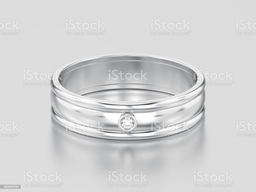 3D illustration white gold or silver matching couples wedding diamond ring bands stock photo