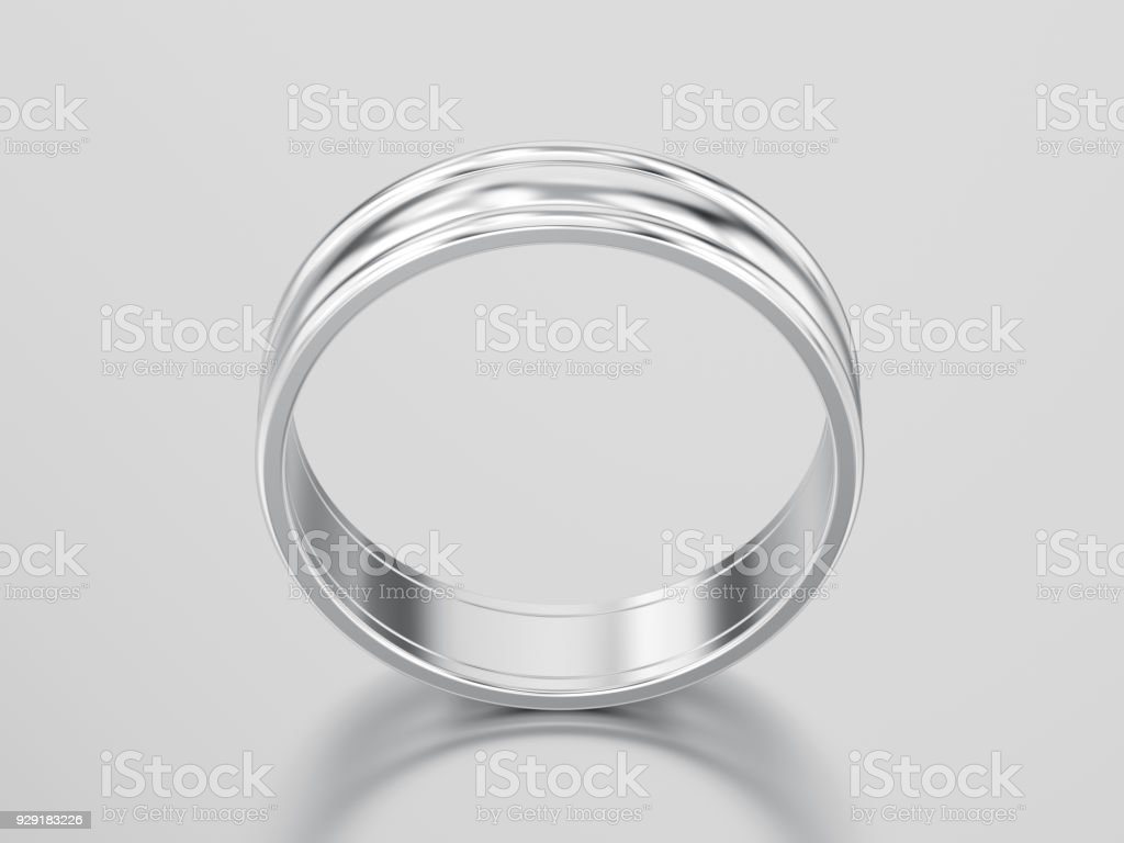3D illustration white gold or silver  matching couples wedding ring bands stock photo