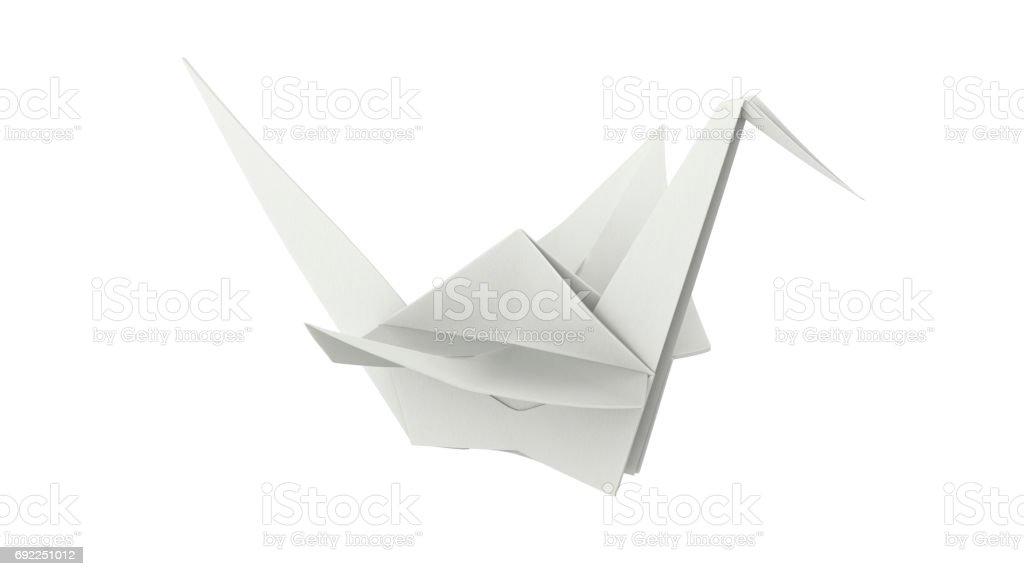 3D illustration white paper origami bird stock photo