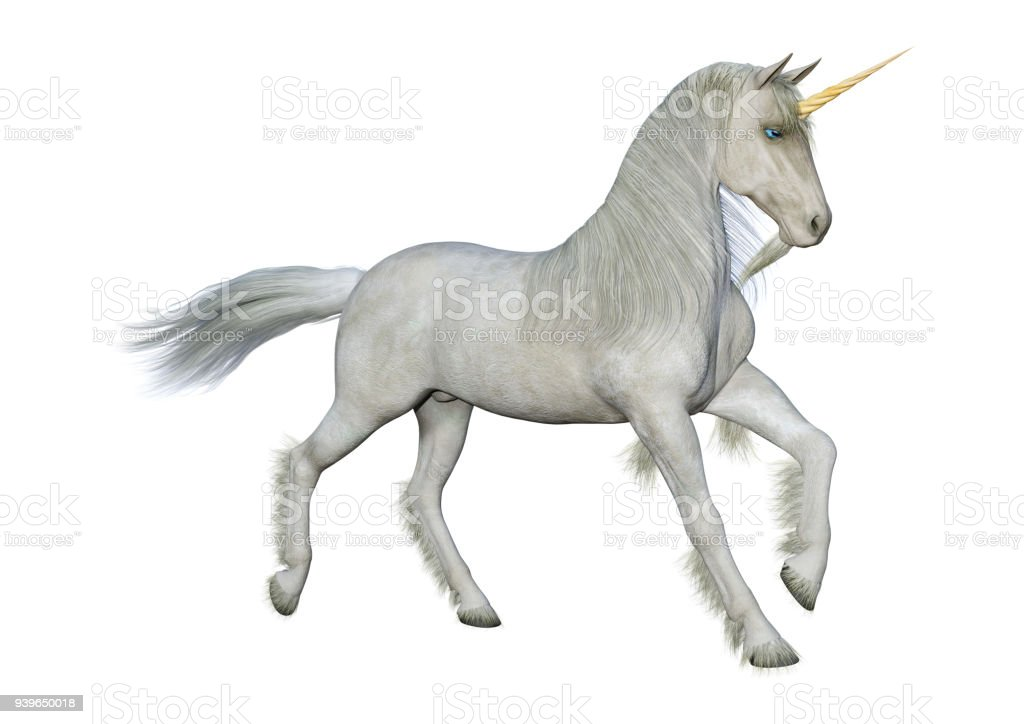 3D illustration white unicorn on white stock photo