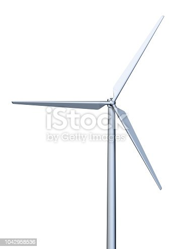 3D rendering of a wind turbine isolated on white background