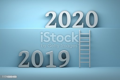 istock Illustration with 2019 and 2020 numbers and ladder 1174686469
