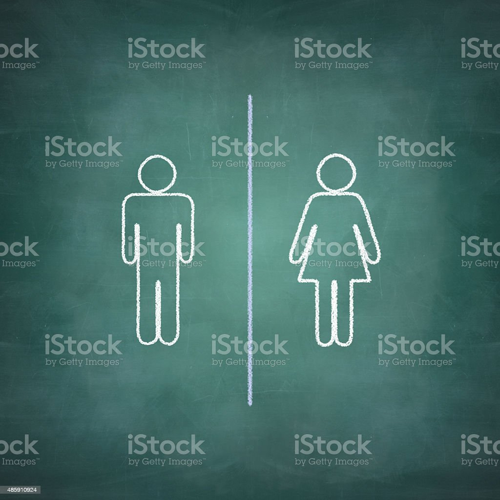 Illustration with Boy and girl figure on the blackboard stock photo