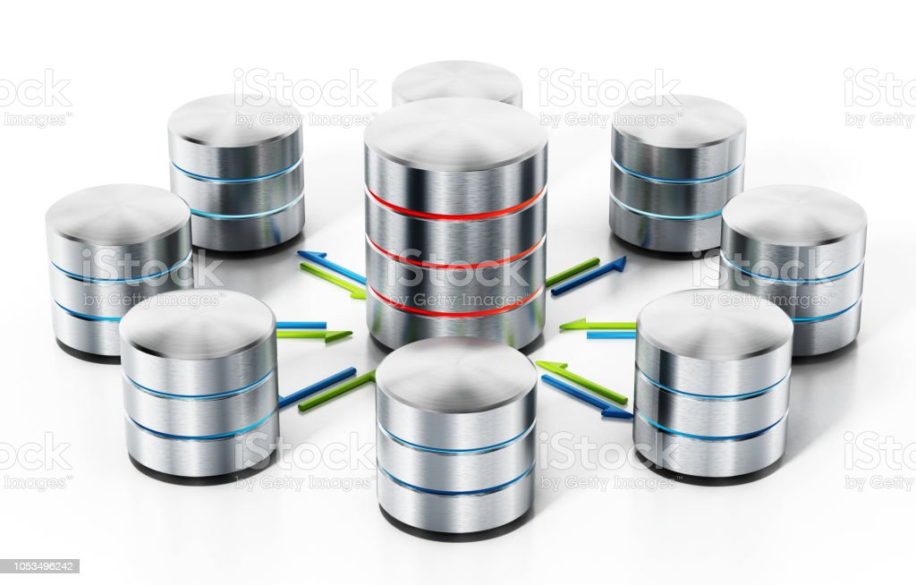 3D illustration with notebook computer transferring data between cloud servers. Cloud computing concept stock photo