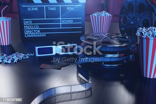 istock 3D illustration with popcorn, cinema reel, clapperboard and two tickets with blue light. Concept cinema hall and theater. Red chairs in the cinema hall in the background. 1135297680