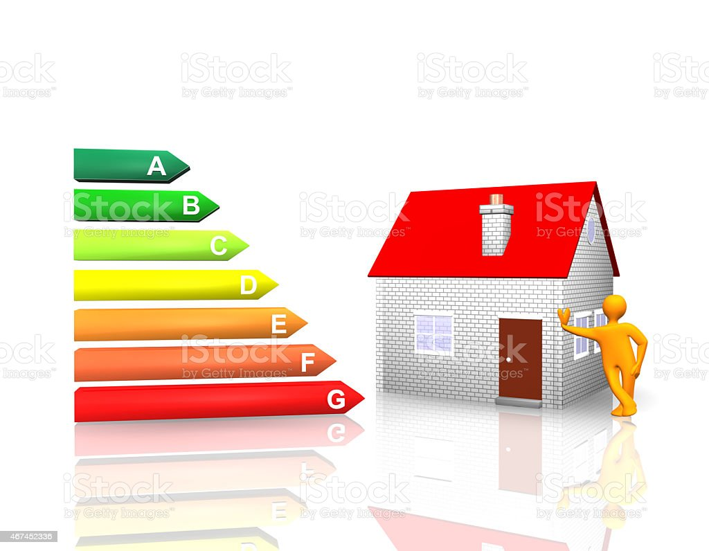 Illustration with simple house, person and energy bars stock photo