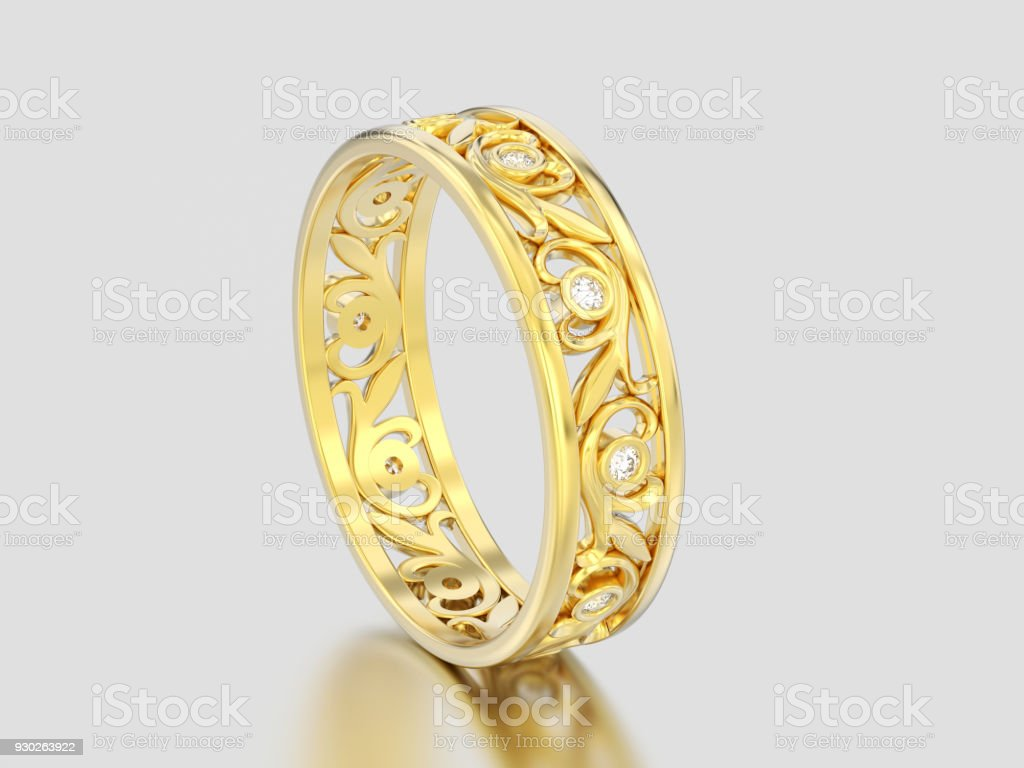 3D illustration yellow gold decorative wedding bands carved out diamond ring with ornamen stock photo