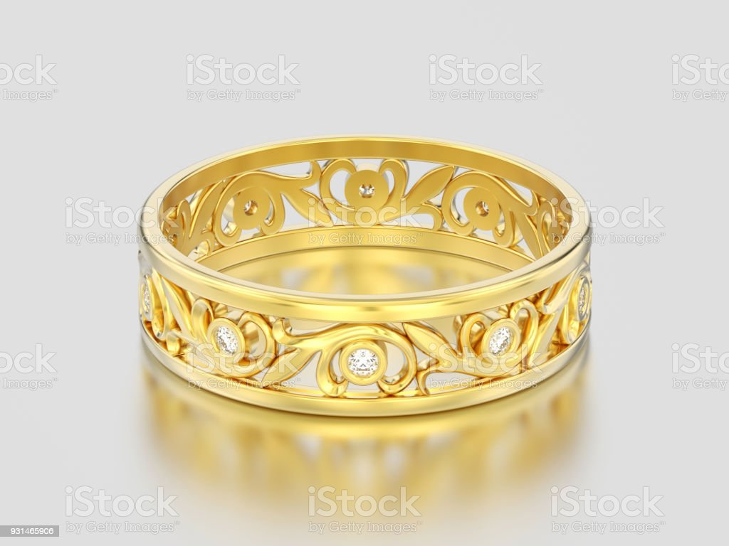 3D illustration yellow gold decorative wedding bands carved out diamond ring with ornament stock photo